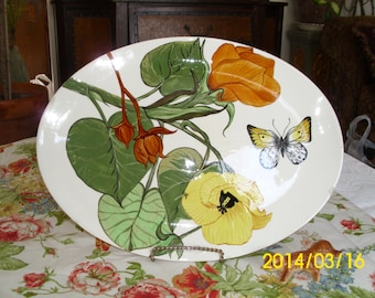 Vintage Ceramic Oval Serving Platter-Bold Large Colorful Flowers and Butterfly