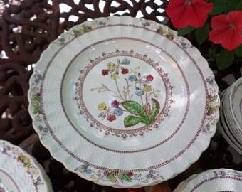 "Copeland Spode-England-Cowslip-Basketweave-Floral-Dinner Plate/Dish-10.25"""