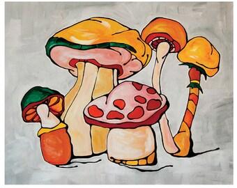 Art Print, Colorful, Mushrooms Illustration, Fresh Home Decor, Wall Art, Wall Hanging ,  Nursery Decor