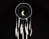bohemian dreamcatcher, white,  hanging, moon, white feathers, turquoise beads, lace dream catcher, long, large, bedroom decor