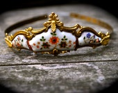 RESERVED/MICHAEL 1850s Antique FRENCH Porcelain Tiara hand-painted Flowers & leaves Gold Garland Crown May Queen Woodland