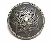 Shank Metal Button Gunmetal Octagram Relief 20 mm USA Seller