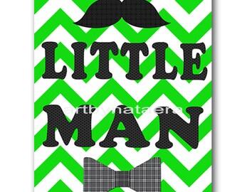 Little Man Baby Boy Nursery Art Print Children Wall Art Baby Room Decor Kids Art Nursery Decor Boy Baby Wall Art Green Gray Little Man