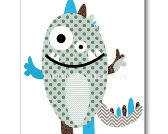 Monster Nursery Art Children Decor Baby Boy Nursery Print Children Wall Art Kids Art Kids Room Decor Nursery Wall Art Blue Gray