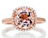 14K Rose Gold Cushion Cut 9mm Morganite Diamond Halo Plain Shank Solitaire Gemstone Anniversary Engagement Ring