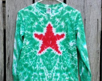 Toddler Christmas Tie Dye Star Shirt, Long Sleeve Tshirt, Toddler Sizes 2T 3T 4T, Red and Green Tie Dye