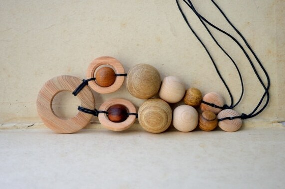 Nursing Breastfeeding necklace Teething ring  bead Natural wood Eco-friendly