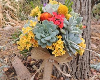 Succulent Bouquet Yellow, Orange, Green
