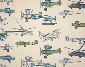 3 yards Vintage Air Felix Natural  -   Airplane Grey Gray -  Green Blue - Home Decor Premier Prints - Decorators - Decorating