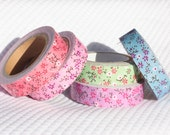 Floral Fabric Tape Pink, Purple, Green, Blue