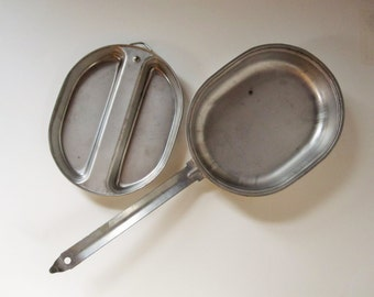 1982 Mess Kit From the U.S. Army  - Aluminum 'Rust Proof' - Two Piece Super Sturdy - Camp - Fish - Hike - Campfire - Memoirs