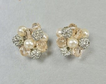 Bridal Stud Earring Wedding Jewelry, Blush Pink Pearl & Swarovski Crystal Cluster Post Rhinestone Bridesmaid Drop, Camilla Christine ROSE
