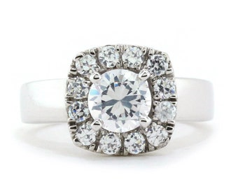 Diamond Halo Engagement Ring Setting Moissanite Center Ring Name Daphne
