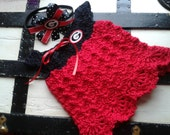 Crochet baby girl GEORGIA BULLDOGS dress and headband! 0-3 months, newborn embroidered SALE