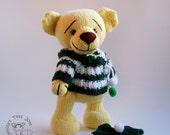 Yellow Teddy Bear - knitting pattern (knitted round)