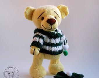 Yellow Teddy Bear - knitting pattern (knitted round)