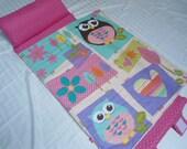 "Toddler Preschool Nap Mat Kindergarten Daycare Blanket Pillow Cover Plush Pink Minky Owls Flowers Kindermat Bedding Girls Kids 20"" x 49"""