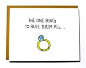 Lord of the Rings funny wedding card, engagement card - One ring to rule them all