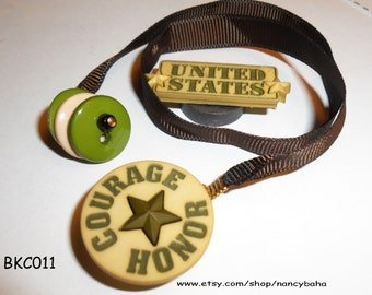 Courage Honor Button Bookmark  - Book Thong - Ribbon Bookmark - Child Bookmark, MilitaryBookmark, BKC011