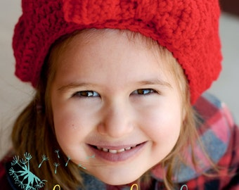 Vintage Inspired Beret Tam with Bow Toddler Infant Teen Adult Hat