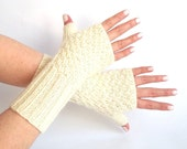 SALE - 50%OFF. White Ivory Knit Fingerless Gloves. Knit Mittens. Knitted Wrist Warmers. Hand Knit Gloves. Long Gloves. Hand Warmers.