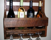 Rustic Wall Mount Wine Shelf