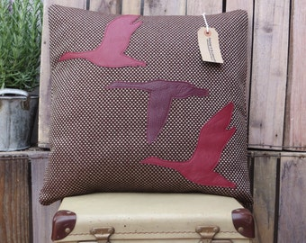 SALE Leather Flying Ducks Cushion/Pillow