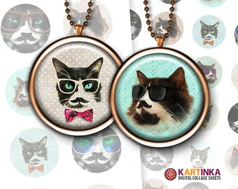 HIPSTER CAT - 1 inch and 1.5 inch Circles Digital Collage Sheet Printable Download for Pendants Magnets