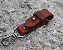 Leather keyring- Keychain-Belt Clip keyring-Hand Stitched