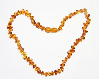 Baltic amber baby teething necklace, honey - bright cognac color chips beads 20v