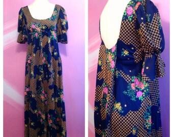 60s Floral Maxi Dress With Faux Cape Sz S M