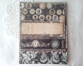 Spiral notebook with victorian images