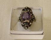 Art Nouveau Silver Tourmaline Seed Pearl Ring - Size 6 3/4 U.S.