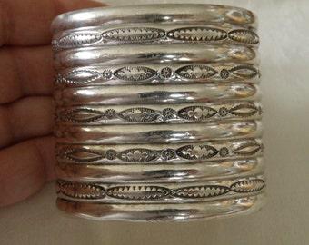 Splendid Wide Native American Sterling Silver Cuff - 2 1/8 inch wide