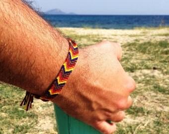 Friendship chevron bracelet in Peru-inspired shades, unisex