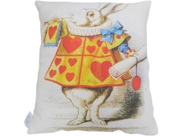"Alice in Wonderland White Rabbit Vintage Illustration 12.5 x 12.5"" Pillow"