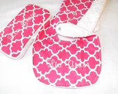 Pink and white minky 3 piece set ,bib,burp cloth and wipes case for baby in quatrefoil or Lattice fabric