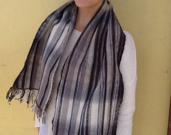 Ombré black and white scarf