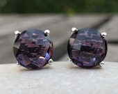 Purple Amethyst Stud Earring- Classic Round Purple Earring- February Birthstone Earring- Sterling Silver Earring- Faceted Prong Earring