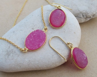 Druzy Earring Necklace Jewelry Set -Pink Oval Druzy Set- Pink Stone Necklace Earring -Pink Drusy Necklace Earring- Simple Jewelry Set
