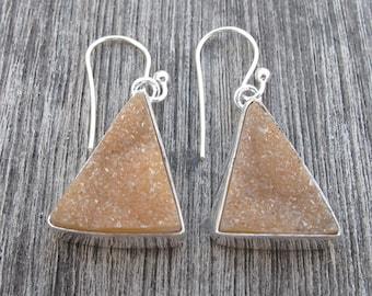 Gold Druzy Earrings- Drusy Silver Earrings- Gold Earrings- Druzy Earrings- Gold Dangle Earrings- Dangle Earrings- Gold Stone Earrings