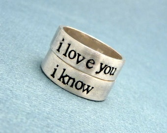 i love you i know wedding rings view for him couples bestie by chasingatstarlight on etsy 5049