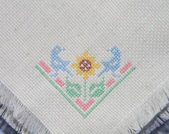 Bird and Sunflower Bread Cloth Mini - Bread Cover - Cross Stitch