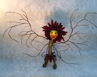 MADE TO ORDER -custom made ooak fairy flower art doll sculpture mad mom monster garden Fae flower spooky cute