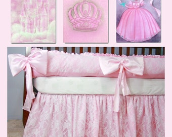 Baby Girl Nursery Princess Decor, Princess SET of 3 Art Prints Castle Crown Princess Dress, Nursery Wall Art, Nursery Decor, Girls Wall Art