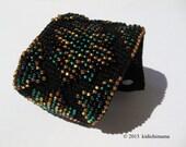 Crochet cuff bracelet hand made with Czech glass beads, womens jewelry, mens jewelry, accessories bracelets