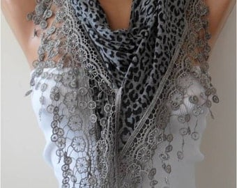 CHRISTMAS, HOLIDAY GIFT, Gifts For Her, Gifts For Women Gray Cotton Scarf with Trim Edge - Leopard Transparent Fabric - Triangular Scarf