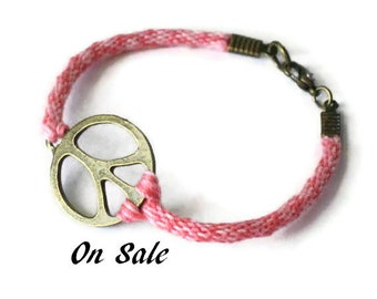 Peace symbol bracelet - on sale -  kumihimo braid in hot pink