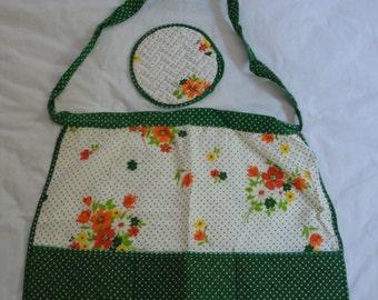 Vintage Handmade Floral Half Apron with Matching Pot Holder