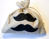 Linen gift Mustache bags gray linen personalized tote bag set of 10